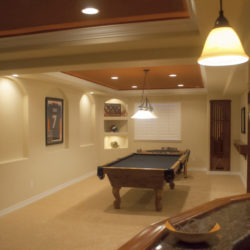custom wood work in basement finishing project