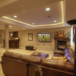 castle pines finished basement entertainment area overview