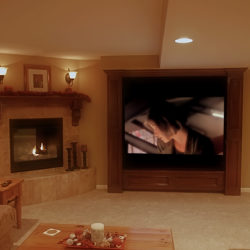 custom built in and fireplace in aurora finished basement