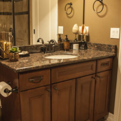 Basement bathroom vanity with granite top