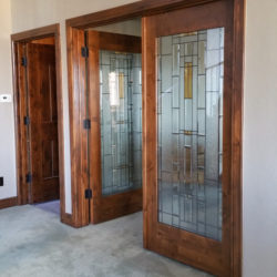 double, leaded glass finished basement study entry detail