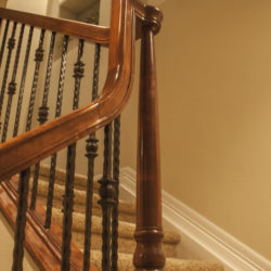 custom stair railing to finished basement