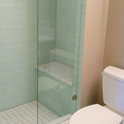 glass tile shower walls in finished basement