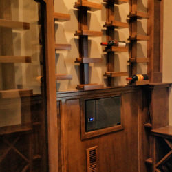 finished basement custom, cherry wine displays