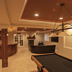 red ceiling basement finishing project in Colorado
