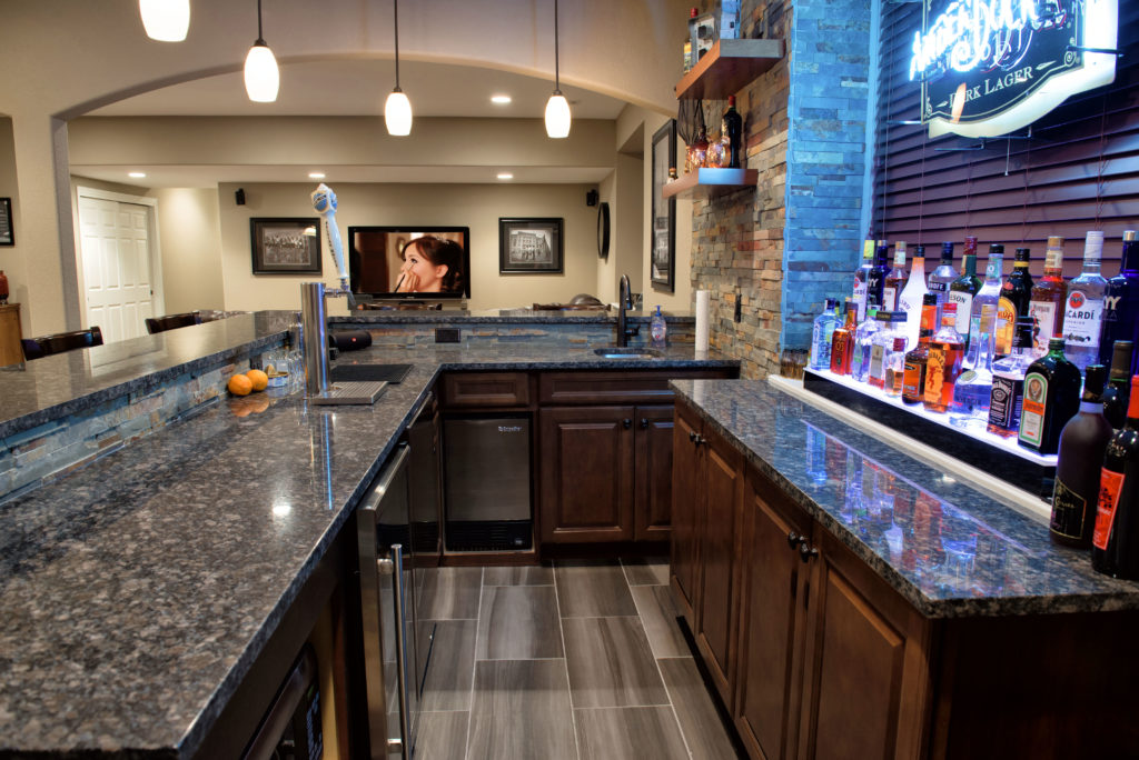 Basement bar ideas brothers construction the basement for Does a walkout basement cost more