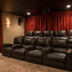 Home Theater stepped seating in basement home theater room