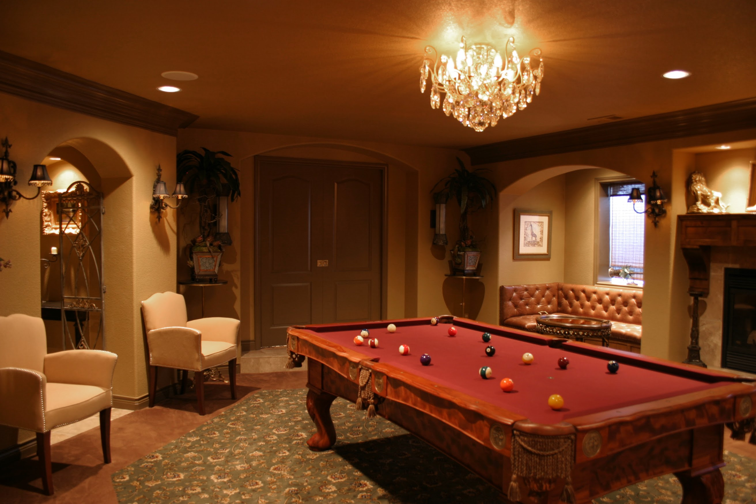Basement Pool Table Area And Seating Recess Brothers Constructionbrothers Construction